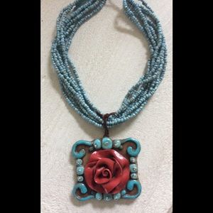 Same Spirit Clay Necklace Flower Turquoise & Red